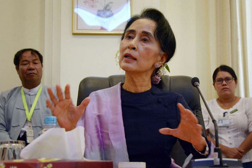 Myanmar's National League for Democracy chairman Aung San Suu Kyi holding a press conference after the new lower house parliamentary session on Feb 3, 2016.