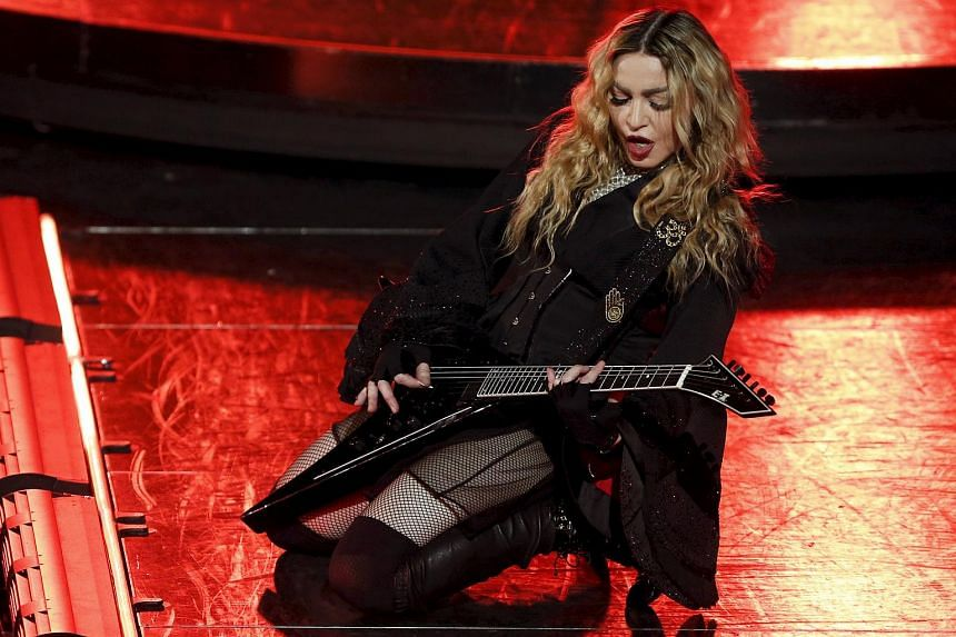 Madonna performing during her Rebel Heart Tour concert at Studio City in Macau on Feb 20, 2016.