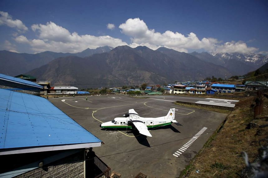 An aircraft belonging to Tara Air is pictured at Tenzing Hillary Airport in Nepal.