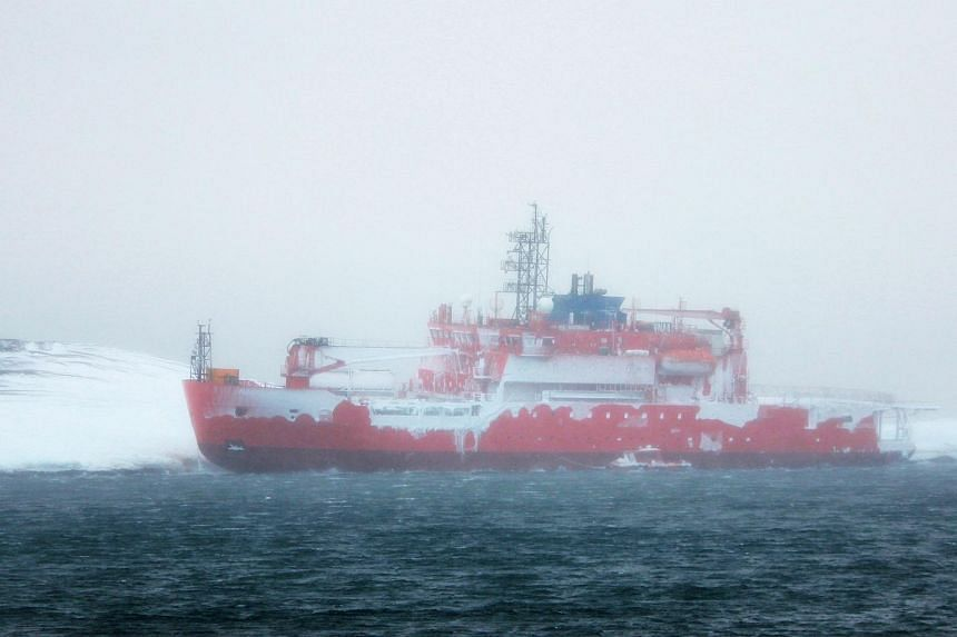A handout photo taken by Chris Hill and provided by Australian Antarctic Division on Feb 26, 2016, shows Aurora Australis after it ran aground in Antarctica.