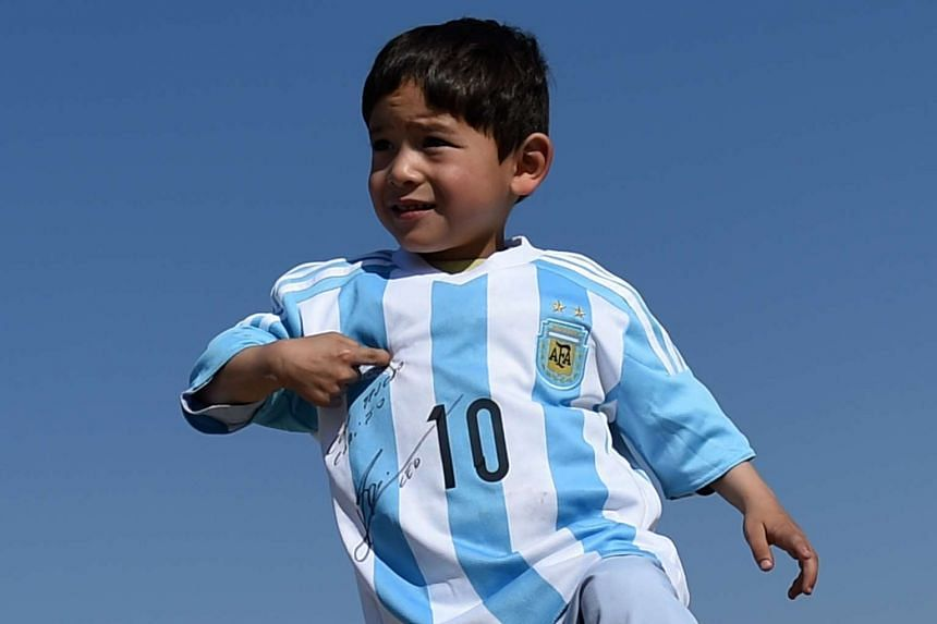 Murtaza Ahmadi, 5, travelled with his family to Kabul this week to receive two jerseys autographed by Lionel Messi.
