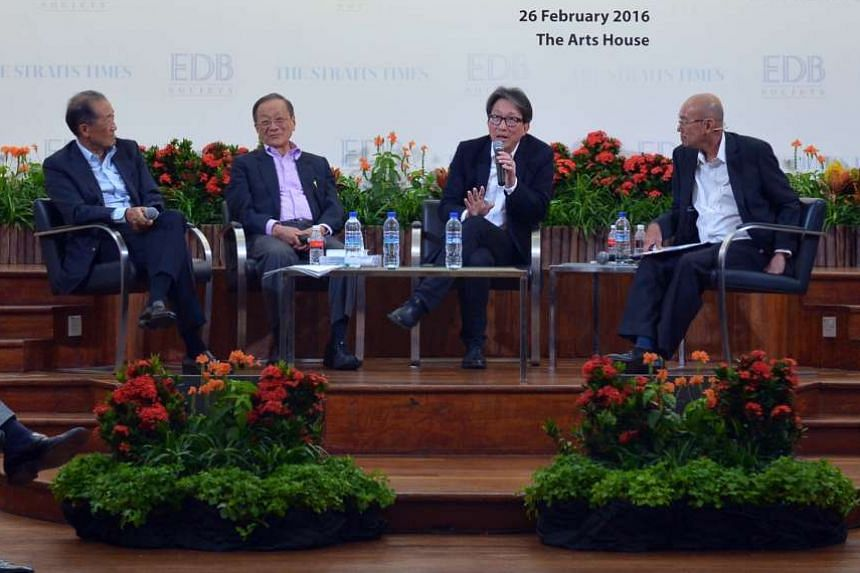 (From left) SIA Chairman Stephen Lee, former National Wages Council Chairman Lim Chong Yah, Manpower Minister Lim Swee Say and ST Editor At Large Han Fook Kwang at the third EDB-ST Pioneering The Future forum on Feb 26, 2016.
