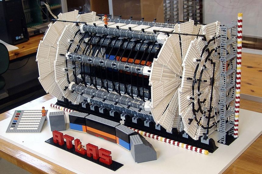A 9,500-piece Lego model, created by Sascha Mehlhase, of the Atlas particle detector at the Large Hadron Collider at Cern.