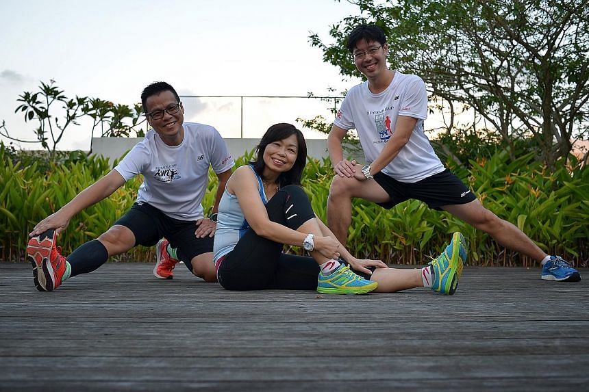 (From left) Mr Paul Chan, Ms Chan Lai Sui and Mr Loke Hon Wah, who have taken part in the previous three editions of the ST Run, have signed up for this year's ST Run in the City.