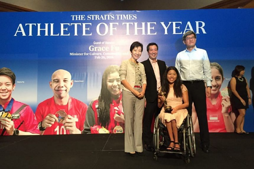 From left: Minister for Culture, Community and Youth Grace Fu, ST sports editor Marc Lim, para-swimmer Yip Pin Xiu and F&N's CEO for non-alcoholic beverages Lee Meng Tat.