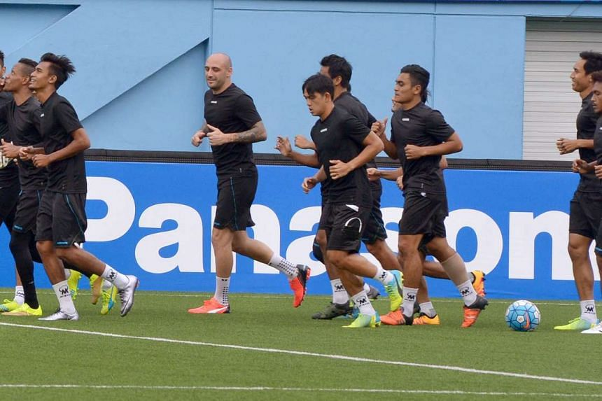 Tampines Rovers training for AFC cup game (versus Lt Sheikh Jamal Dhanmond) at the Jalan Besar Stadium, on Feb 22 2016.
