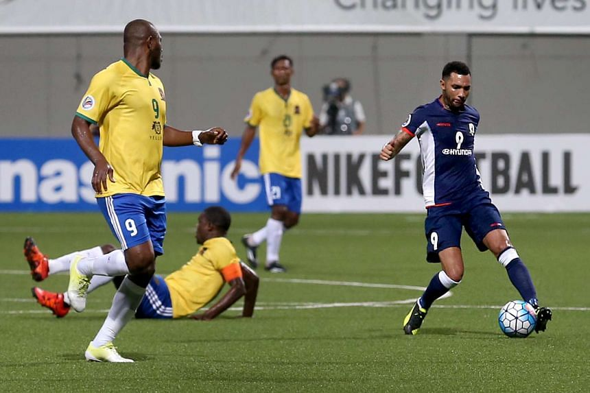 Tampines Rovers' Jermaine Pennant (right, in blue) in action during the AFC Cup Group E match against Bangladesh outfit Sheikh Jamal Dhanmondi at Jalan Besar Stadium on Feb 23, 2016.