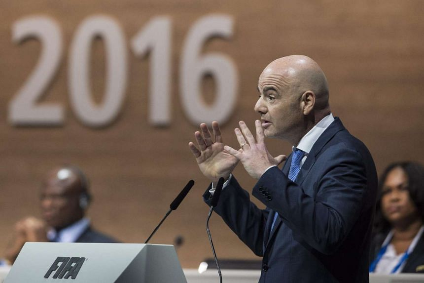 Swiss Gianni Infantino, candidate for Fifa President, delivers a speech during the Extraordinary FIFA Congress 2016 held at the Hallenstadion in Zurich, Switzerland, on Feb 26, 2016.