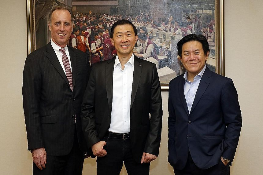 (From left) Mr Reichenbach, Capbridge's chief operating officer, Dr Fang, the company's CEO, and Mr Chew, head of equities and fixed income at SGX, are bullish about the prospects for the new digital capital-raising platform.