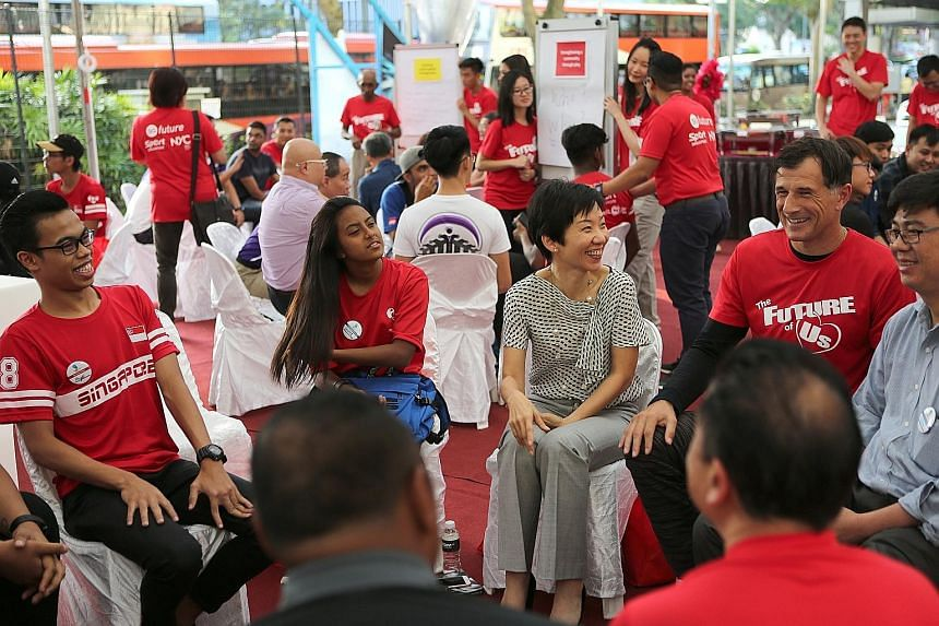 Minister for Culture, Community and Youth Grace Fu and former national footballer Aleksandar Duric at an SGfuture engagement session held at Velocity@Novena, where Play It Forward, an initiative that will offer youth a chance to give back through spo