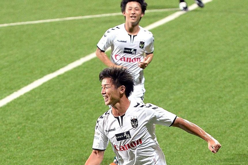 Albirex striker Atsushi Kawata (foreground) made an early claim for the S-League Golden Boot award with four goals in their 5-0 win over the Garena Young Lions last Sunday. After a League Cup and Singapore Cup double last season, they are aiming for