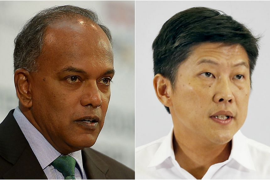 Home Affairs Minister K. Shanmugam (left) and Acting Education Minister (Schools) Ng Chee Meng.