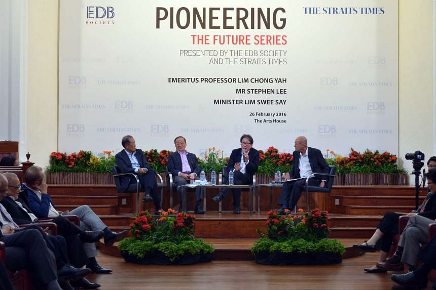Manpower Minister Lim Swee Say speaking at yesterday's forum held at The Arts House. With him are (from left) Mr Stephen Lee, Professor Lim Chong Yah and ST editor-at-large Han Fook Kwang.