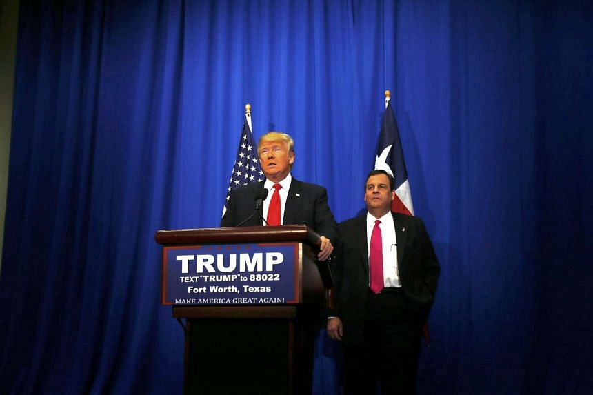 Republican US presidential candidate Donald Trump (left) with former rival for the Republican presidential nomination Governor Chris Christie (right) on Feb 26, 2016.