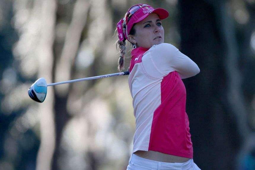 Lexi Thompson of the United States plays a shot on the second hole during the third round of the Coates Golf Championship Presented By R+L Carriers at Golden Ocala Golf Club on Feb 5, 2016 in Ocala, Florida.