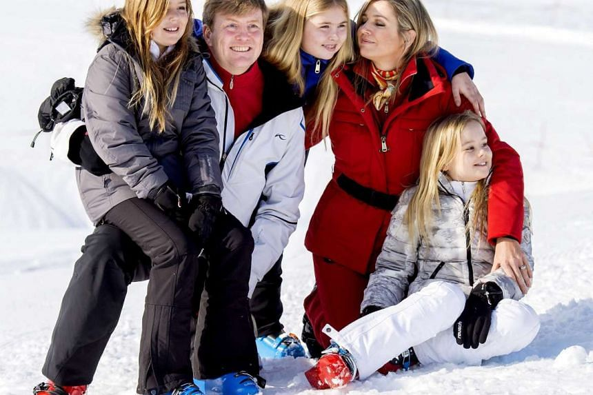 (From left) Princess Alexia, King Willem-Alexander, Princess Catharina-Amalia, Queen Maxima and Princess Ariane pose during a photocall of the Dutch royal family in Lech am Arlberg, Austria, on Feb 22, 2016.