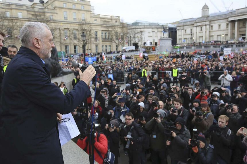 Jeremy Corbyn, the leader of Britain's opposition Labour Party, addresses a protest against the Trident nuclear missile system in London, on Feb 27, 2016.