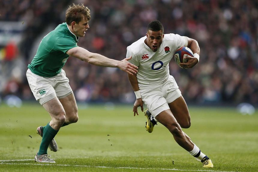 Anthony Watson of England in action against Andrew Trimble of Ireland at the RBS Six Nations Championship 2016 in Twickenham Stadium, London, England on Feb 27, 2016.