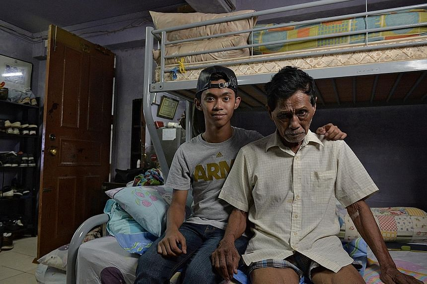 Mr Leck Wee Nee (right) is unable to work because of health issues, and food stall assistant Ong Leong Hock (centre right) has to support his wife, three children and elderly parents. Rag-and-bone man Lee Pang Kiab (above) makes his rounds on his own