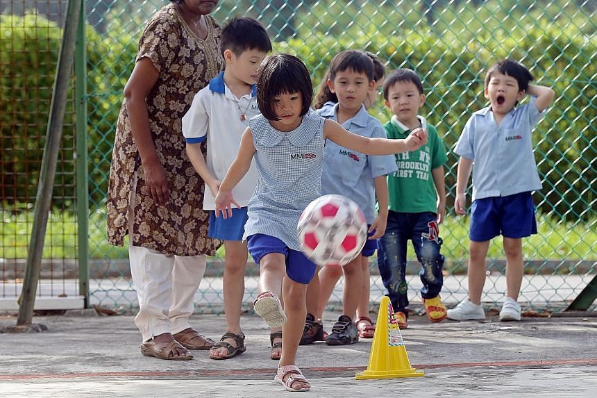 K1 and K2 children playing at the Modern Montessori Preschool Centre in Spooner Road.