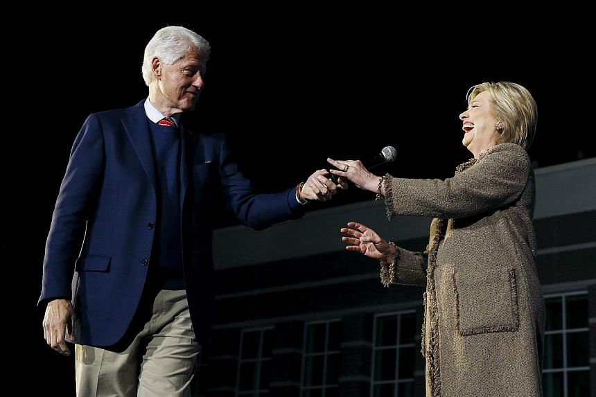Former United States president Bill Clinton campaigning for his wife, Democratic presidential hopeful Hillary Clinton, as she rallied for support in Columbia, South Carolina, on Friday.
