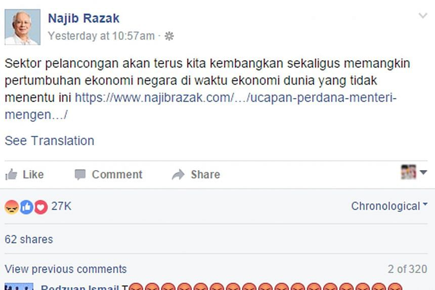"A screengrab of Mr Najib's Facebook page shows a netizen using the ""angry"" emoticon to show his unhappiness with the Malaysian leader."