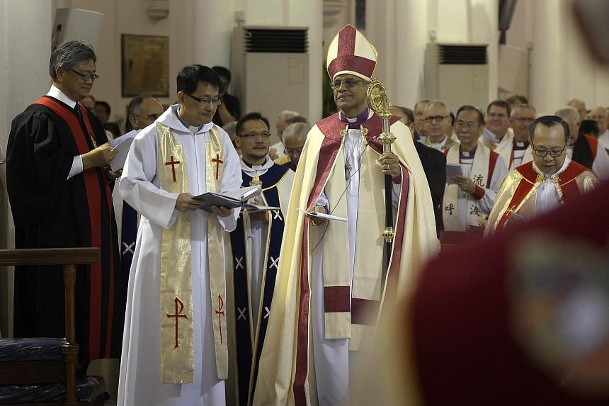 Installation ceremony of the new Anglican Bishop, Reverend Rennis Ponniah at St Andrew's Cathedral.