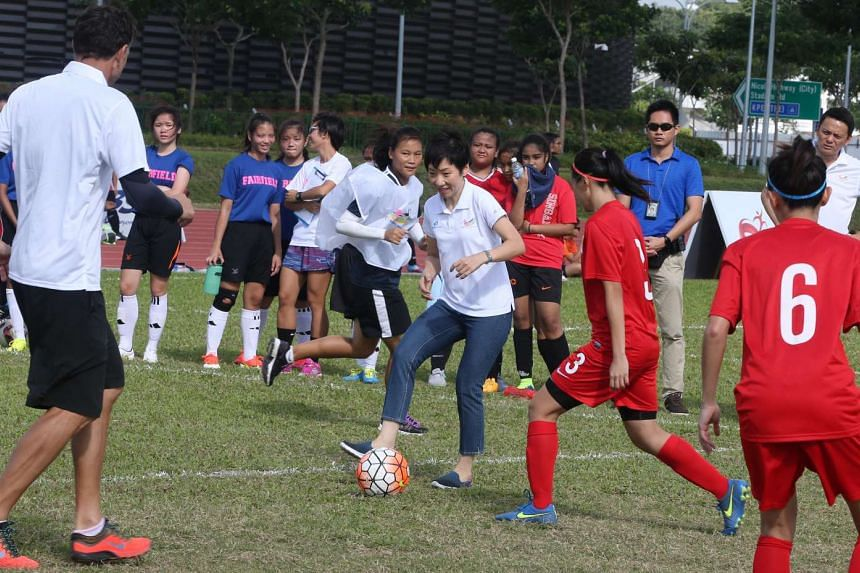 Minister for Culture, Community and Youth Grace Fu attended the Women's Football Day Carnival at the Home of Athletics on Feb 28, 2016.