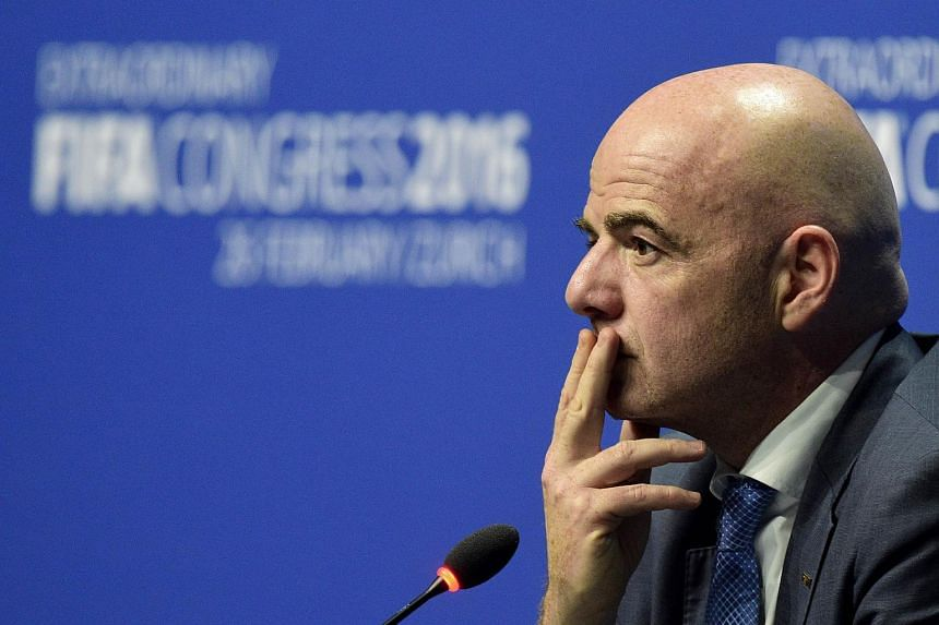 New Fifa president Gianni Infantino gestures during his first press conference following his election in Zurich.