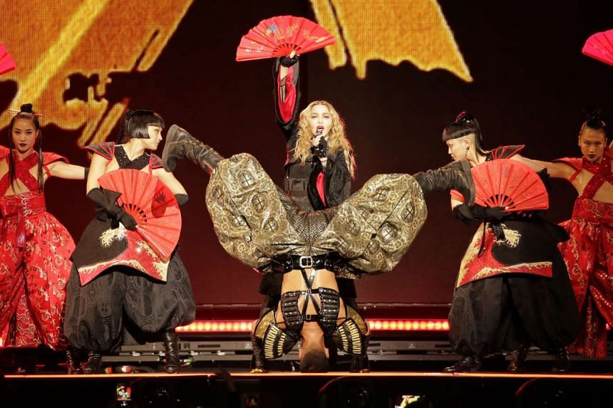 Pop superstar Madonna performs in her first ever concert, as part of her Rebel Heart Tour, in Singapore on Feb 28, 2016.