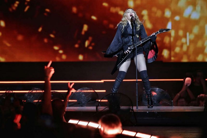 Pop superstar Madonna performs in her first concert in Singapore on Feb 28, 2016, as part of her Rebel Heart Tour .