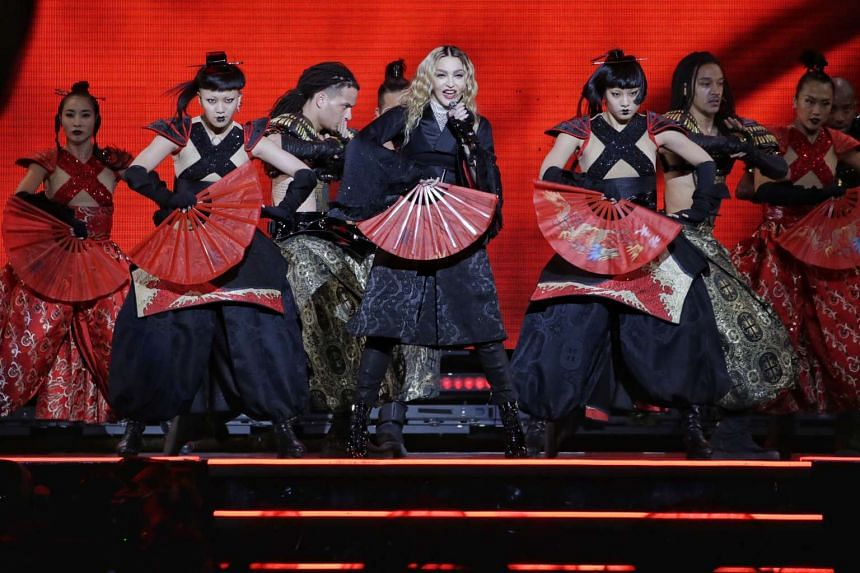 Pop superstar Madonna performs in her first ever concert in Singapore on Feb 28, 2016, as part of her Rebel Heart Tour .