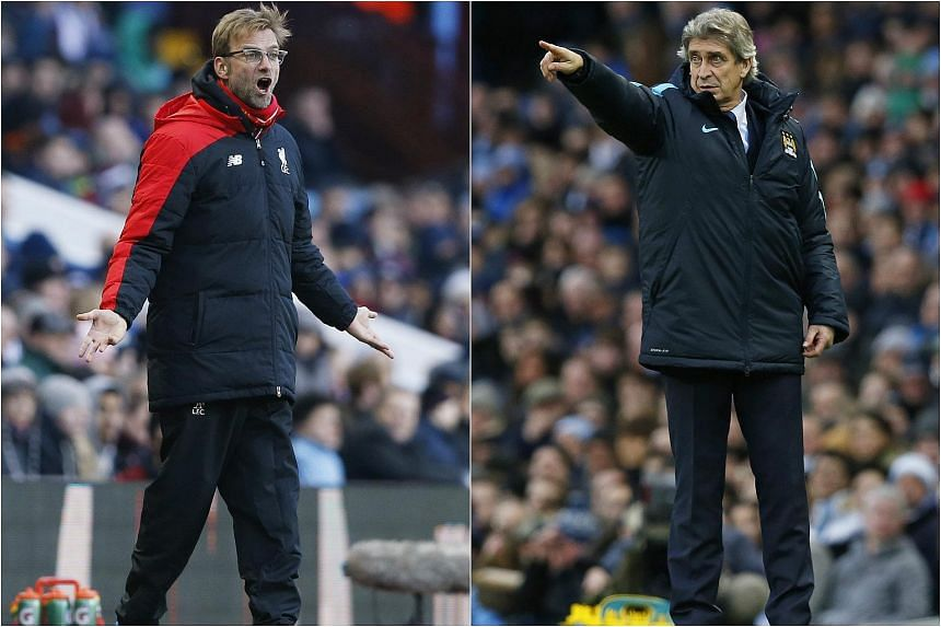 Liverpool manager Juergen Klopp (left) and Manchester City manager Manuel Pellegrini.
