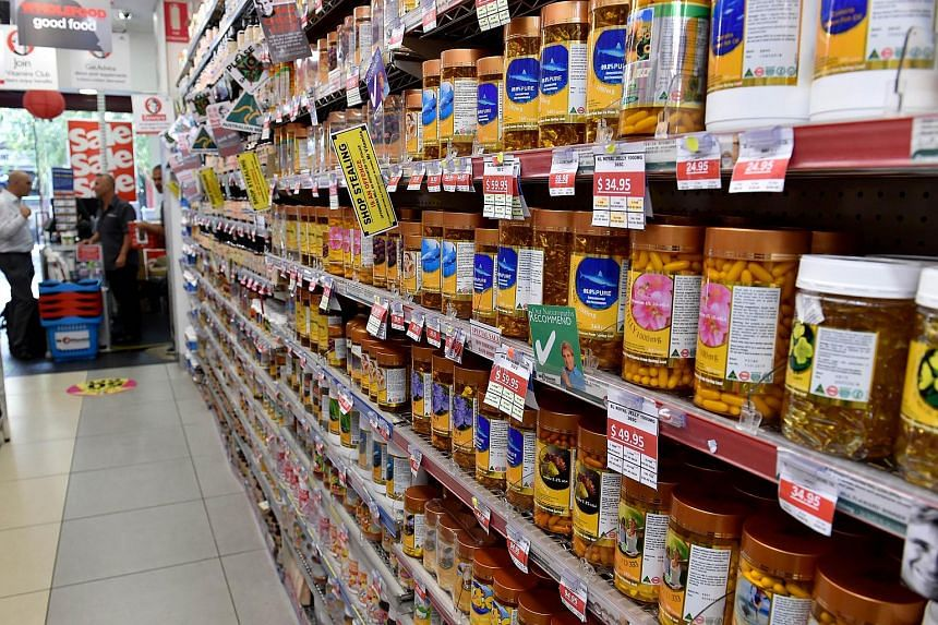 Products on the shelves of Mr Vitamins, a chain of supplement outlets in Sydney.