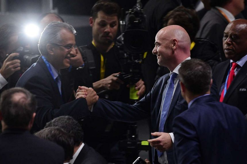 Sheikh Salman Ebrahim Al-Khalifa (left) congratulating Gianni Infantino after the Swiss was elected as the new Fifa president.