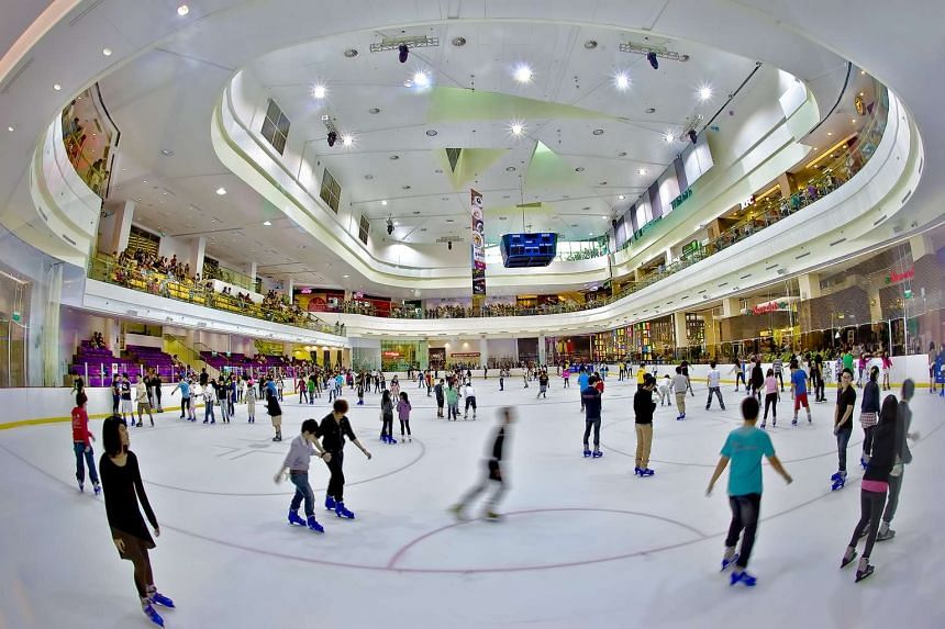The Olympic-sized skating rink located on the third level of JCube.