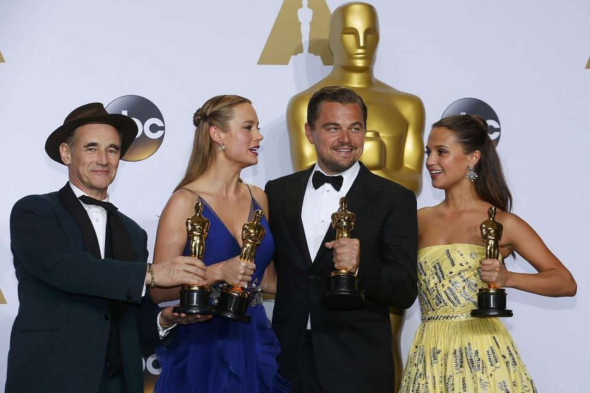 (From left) Best Supporting Actor Mark Rylance, Best Actress Brie Larson, Best Actor Leonardo DiCaprio and Best Supporting Actress Alicia Vikander pose with their Oscars backstage at the 88th Academy Awards in Hollywood, California on Feb 28, 2016.