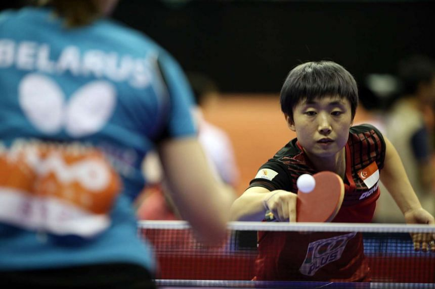 Feng Tianwei in action at the World Team Table Tennis Championships in Kuala Lumpur.