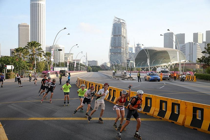It was clear skies and roads yesterday in the heart of Singapore, as the Civic District and parts of the Central Business District were closed to traffic for the first-ever Car-Free Sunday. Thousands of Singapore residents, including cyclists and rol