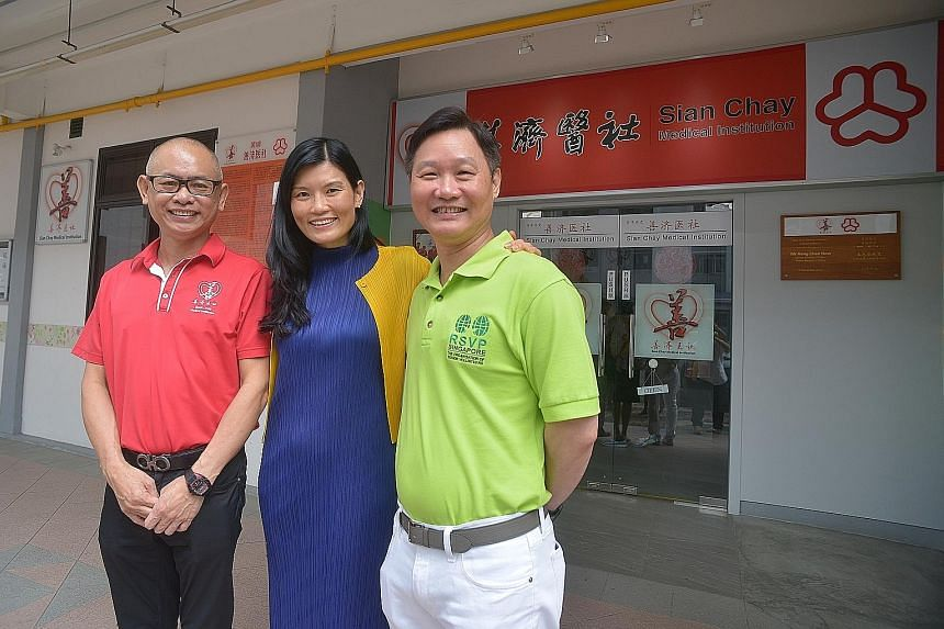 (From far left) Mr Toh, Sian Chay Medical Institution chairman; Ms Kwee, NVPC chief executive; and Mr Koh, RSVP Singapore president at the launch of the two charities' partnership recently.