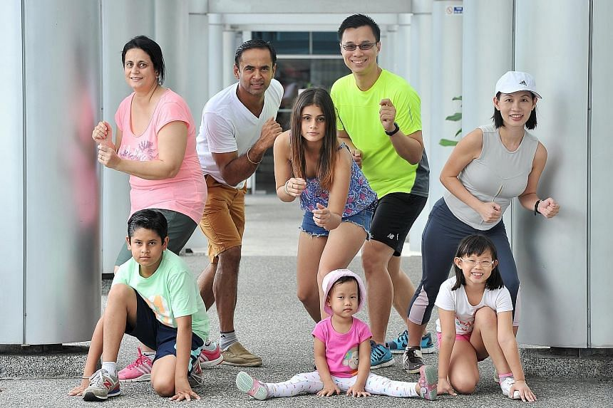 The Singhs and the Lees have signed up for the ST Run on May 22. Mr Harminder Singh, wife Amrita Bakshi, son Sahej and daughter Harmita are all actively involved in sports but they seldom exercise together, so they see the run as a good opportunity t
