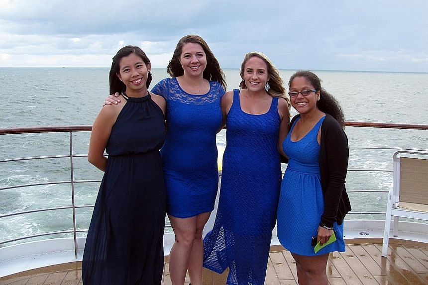 Ms Ng (at far left) with American friends (from left) Ashley Everett, Sara Thornburg and Lissette Palestro.