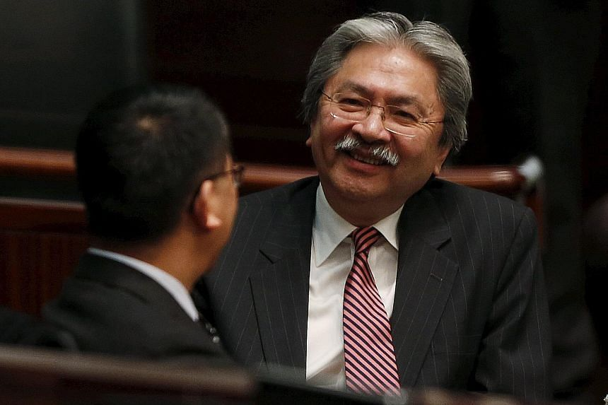 Mr Tsang before presenting the Budget on Wednesday. He announced plans to encourage the production of Cantonese films.