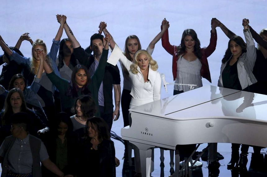 Lady Gaga sings her Oscar-nominated song Till It Happens to You at the 88th Academy Awards, on Feb 28, 2016.
