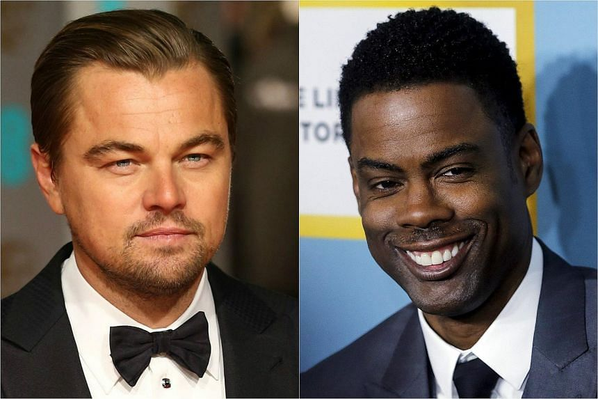 Leonardo DiCaprio (left) is seen as certain to win his first ever Oscar while Chris Rock is expected to take aim at the Hollywood diversity crisis.