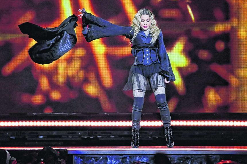 Madonna performing in her first ever concert in Singapore, as part of her Rebel Heart Tour on Feb 28, 2016.