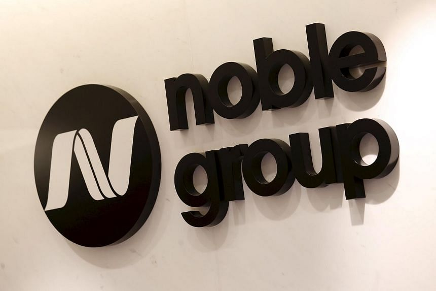 The company logo of Noble Group is displayed at its office in Hong Kong.