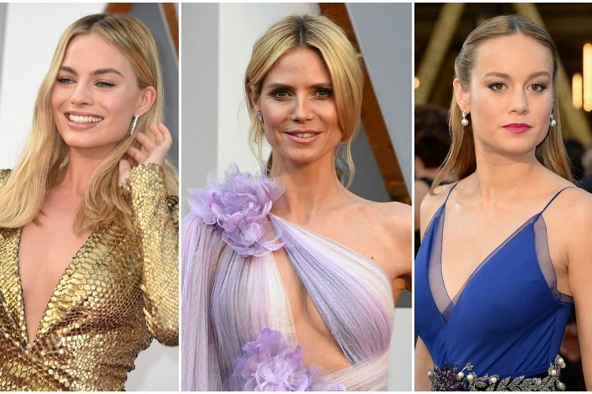 (From left) Actress Margot Robbie, model-host Heidi Klum and actress Brie Larson.