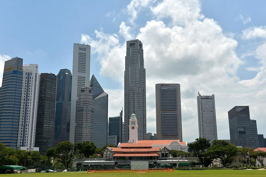 The skyline of the Singapore Central Business District.