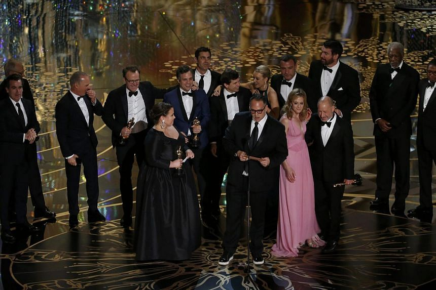 Producer Michael Sugar accepting the Oscar for Best Picture for his film Spotlight with his fellow producers and cast at the 88th Academy Awards on Feb 28, 2016.